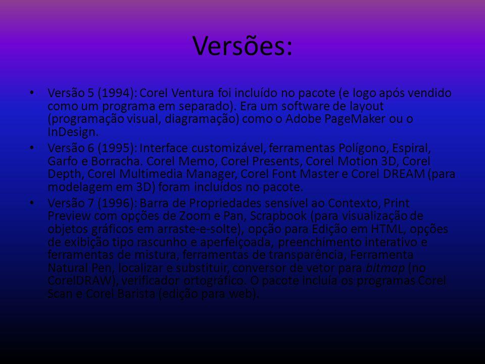 Versões: Versão 5 (1994): Corel Ventura foi incluído no pacote (e logo após vendido como um programa em separado). Era um software de layout (programa