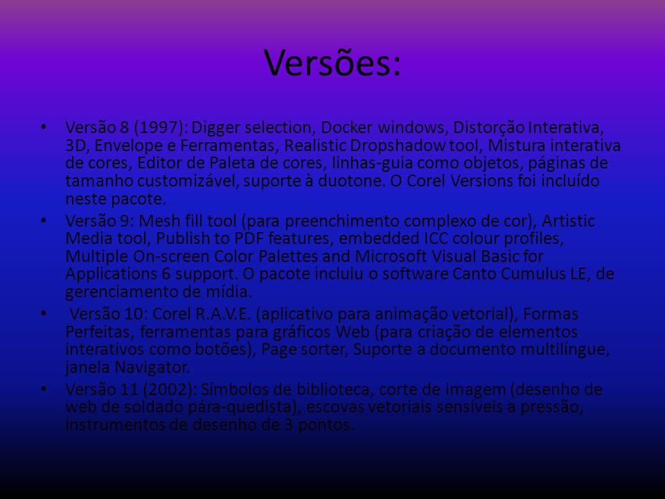Versões: Versão 8 (1997): Digger selection, Docker windows, Distorção Interativa, 3D, Envelope e Ferramentas, Realistic Dropshadow tool, Mistura inter