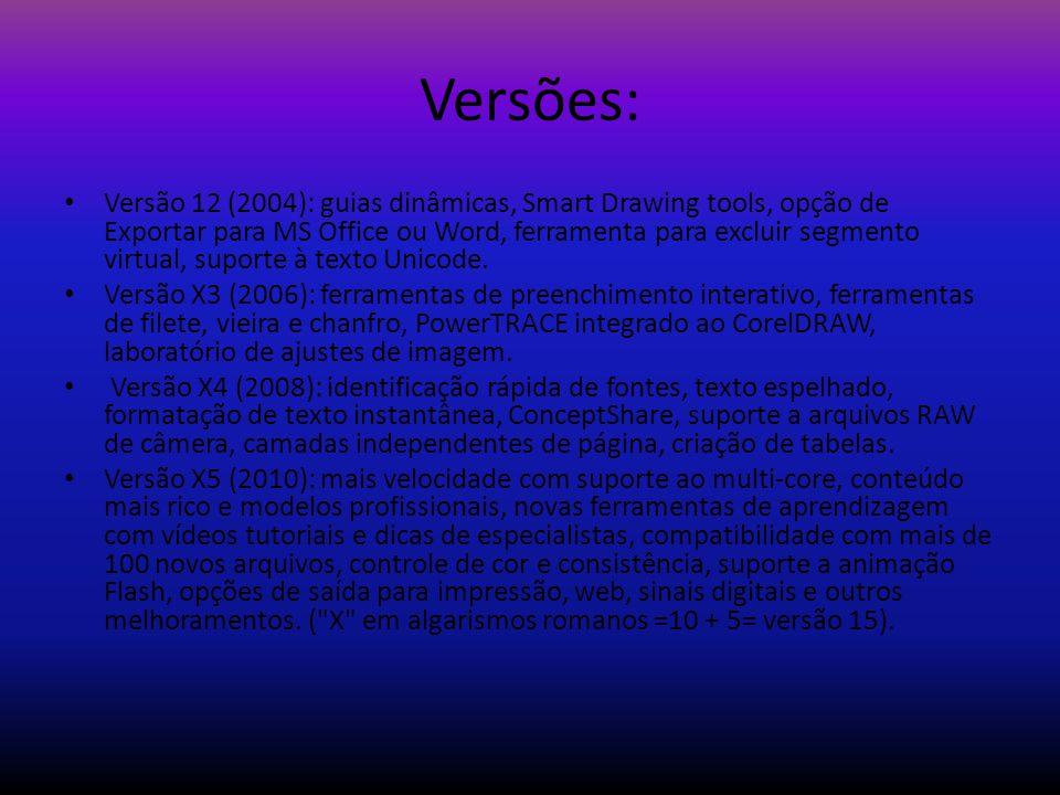 Versões: Versão 12 (2004): guias dinâmicas, Smart Drawing tools, opção de Exportar para MS Office ou Word, ferramenta para excluir segmento virtual, s