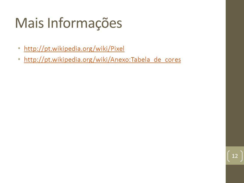 Mais Informações http://pt.wikipedia.org/wiki/Pixel http://pt.wikipedia.org/wiki/Anexo:Tabela_de_cores 12
