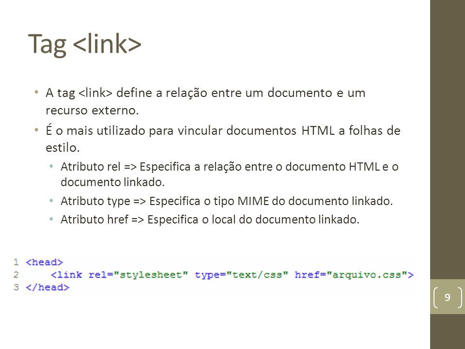 Tag A tag define a relação entre um documento e um recurso externo. É o mais utilizado para vincular documentos HTML a folhas de estilo. Atributo rel