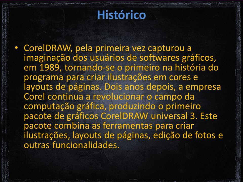 Histórico CorelDRAW, pela primeira vez capturou a imaginação dos usuários de softwares gráficos, em 1989, tornando-se o primeiro na história do programa para criar ilustrações em cores e layouts de páginas.