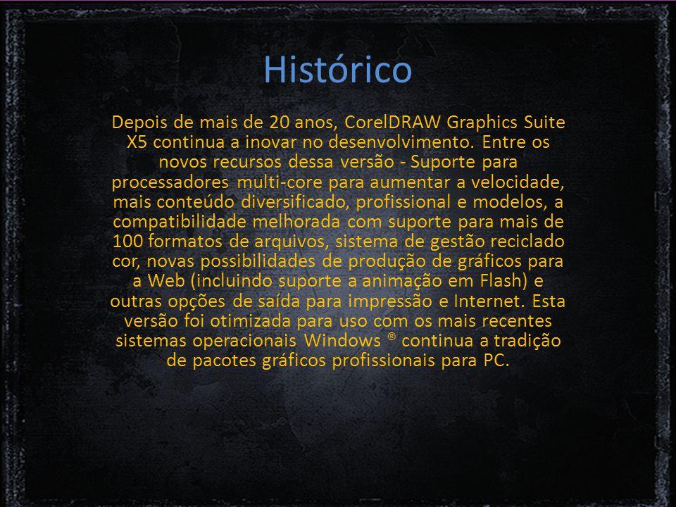 Histórico Depois de mais de 20 anos, CorelDRAW Graphics Suite X5 continua a inovar no desenvolvimento.