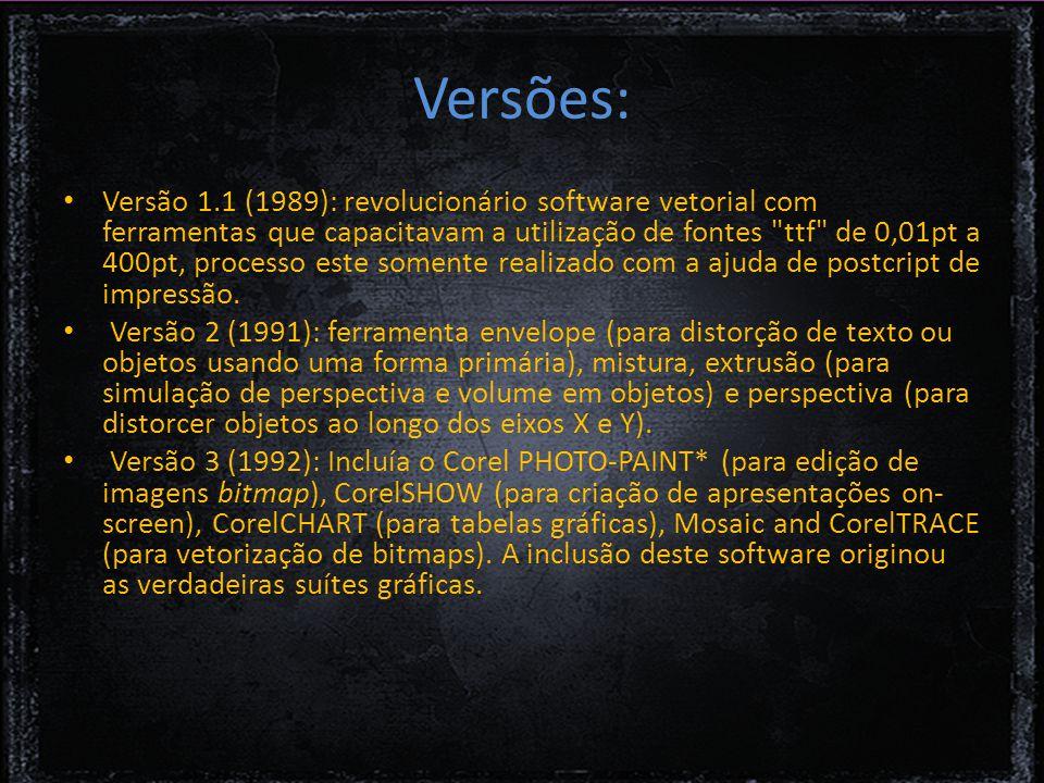 Versões: Versão 1.1 (1989): revolucionário software vetorial com ferramentas que capacitavam a utilização de fontes ttf de 0,01pt a 400pt, processo este somente realizado com a ajuda de postcript de impressão.