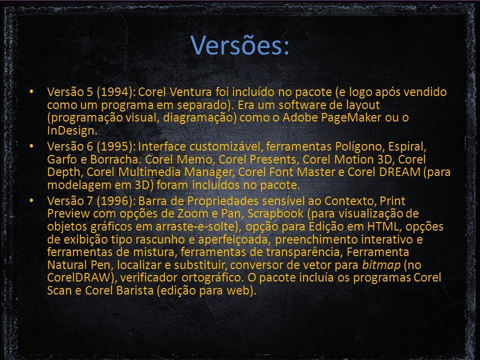 Versões: Versão 5 (1994): Corel Ventura foi incluído no pacote (e logo após vendido como um programa em separado).