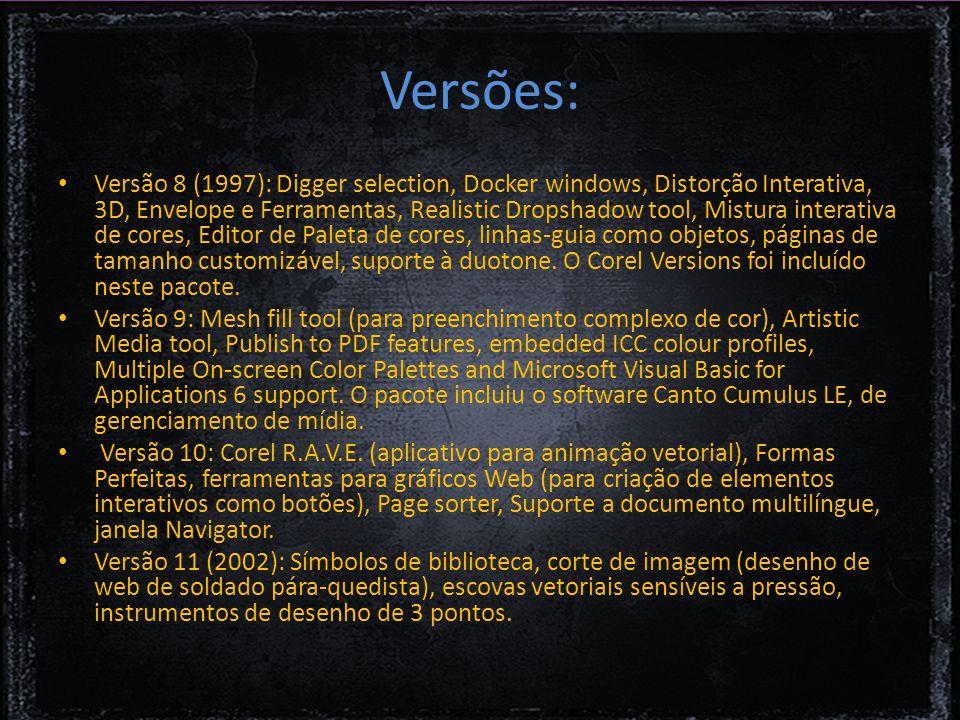 Versões: Versão 8 (1997): Digger selection, Docker windows, Distorção Interativa, 3D, Envelope e Ferramentas, Realistic Dropshadow tool, Mistura interativa de cores, Editor de Paleta de cores, linhas-guia como objetos, páginas de tamanho customizável, suporte à duotone.