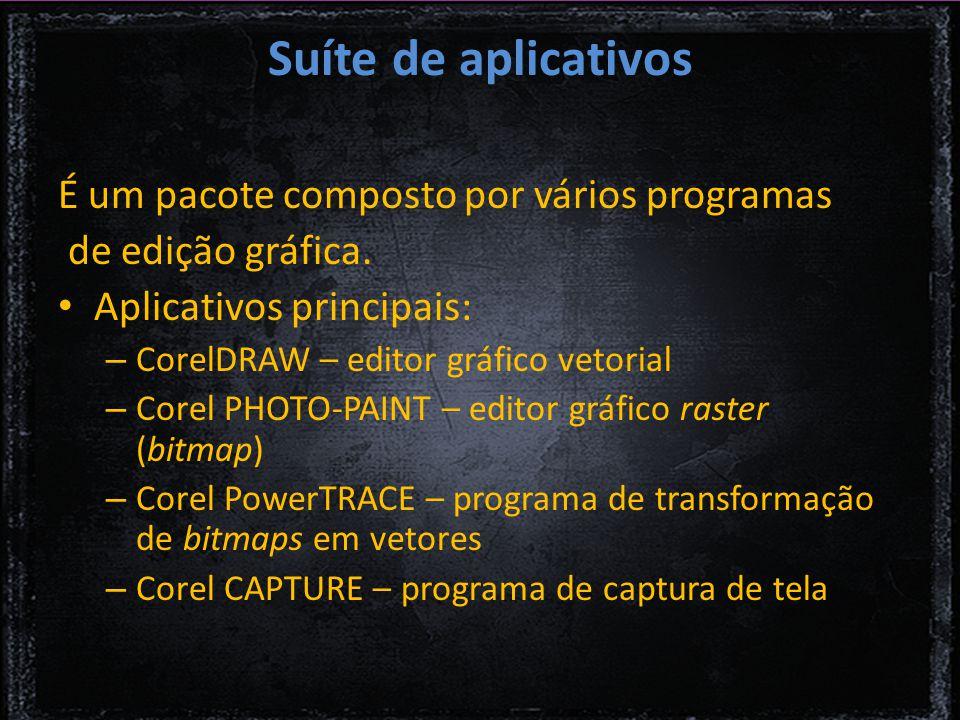 Suíte de aplicativos É um pacote composto por vários programas de edição gráfica.