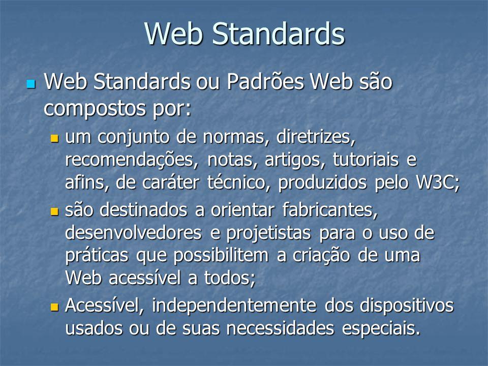 Web Standards Web Standards ou Padrões Web são compostos por: Web Standards ou Padrões Web são compostos por: um conjunto de normas, diretrizes, recom