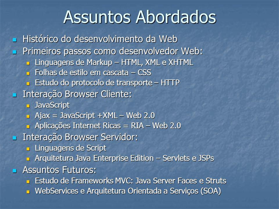 Assuntos Abordados Histórico do desenvolvimento da Web Histórico do desenvolvimento da Web Primeiros passos como desenvolvedor Web: Primeiros passos c