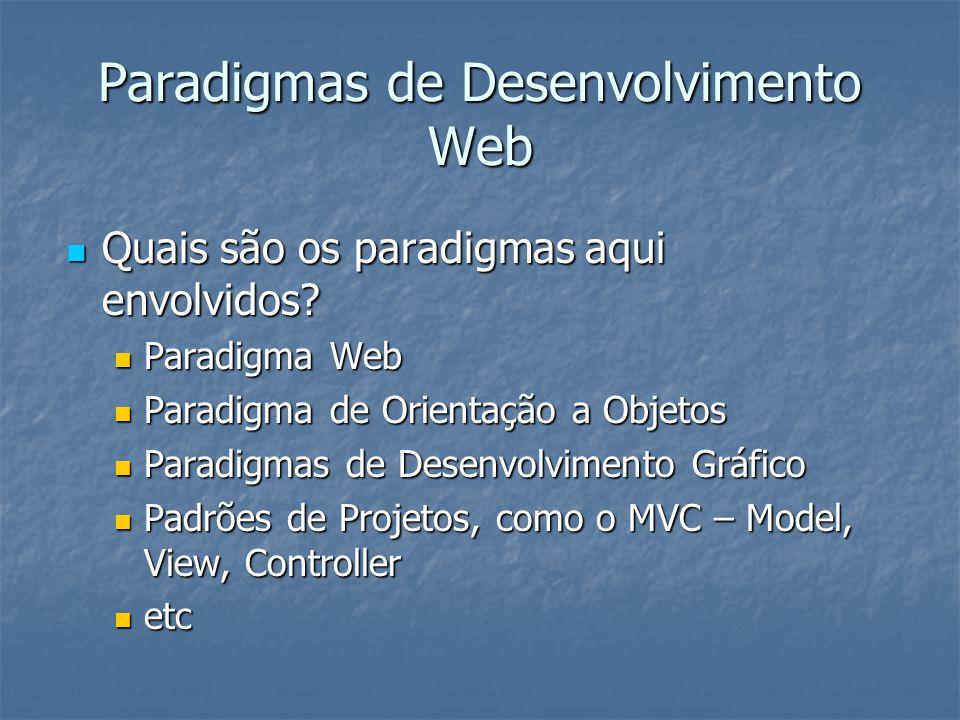 Paradigmas de Desenvolvimento Web Quais são os paradigmas aqui envolvidos? Quais são os paradigmas aqui envolvidos? Paradigma Web Paradigma Web Paradi