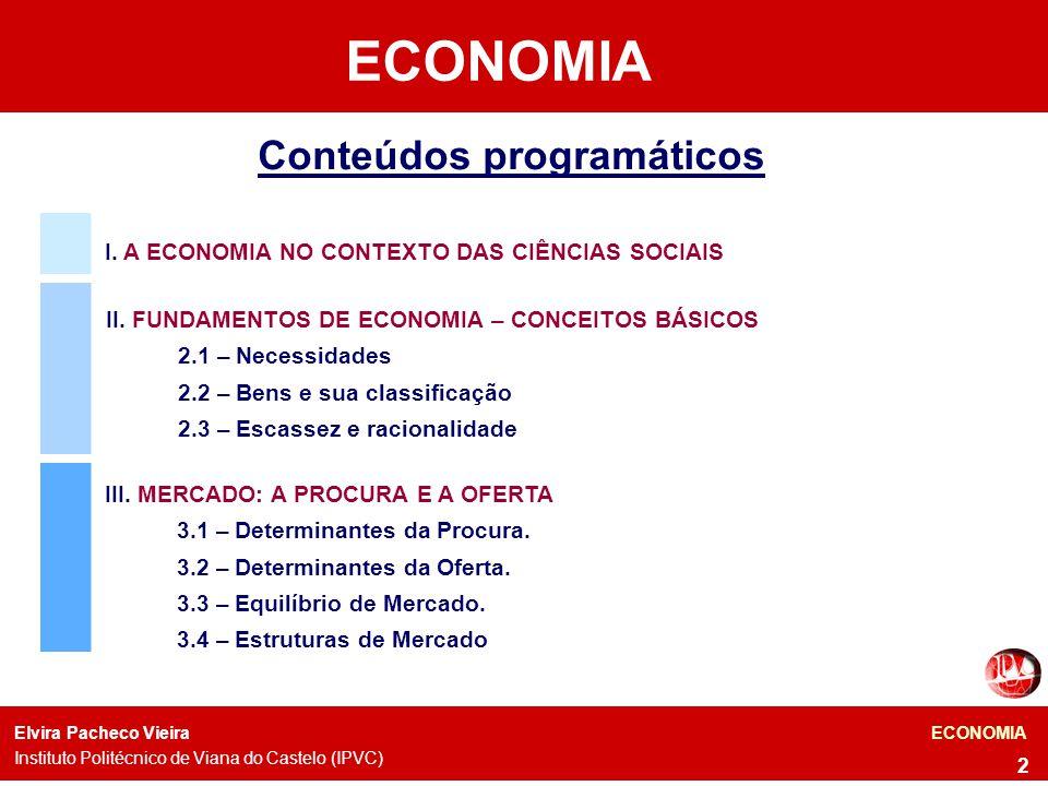 Conteúdos programáticos I.A ECONOMIA NO CONTEXTO DAS CIÊNCIAS SOCIAIS II.