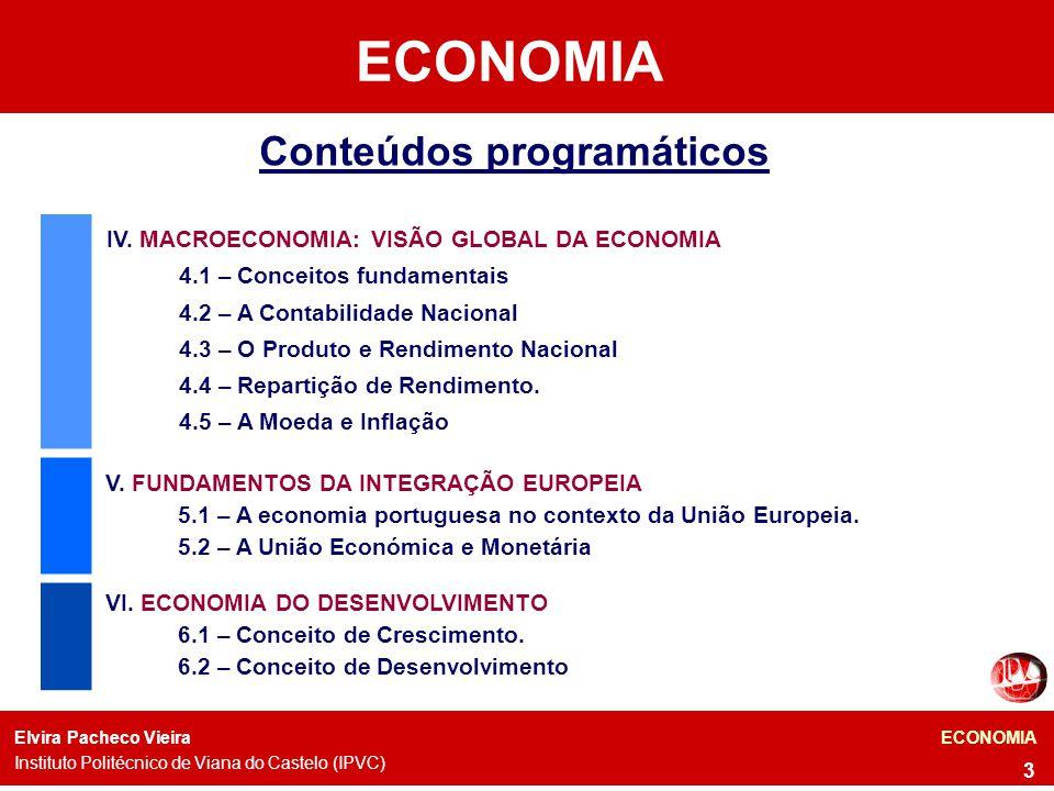 Docente: Elvira Vieira ECONOMIA 24 A Macroeconomia preocupa-se com o comportamento da economia no seu todo – crescimento e recessão, o produto total de bens e serviços, as taxas de inflação e desemprego, as taxas de juro, etc.