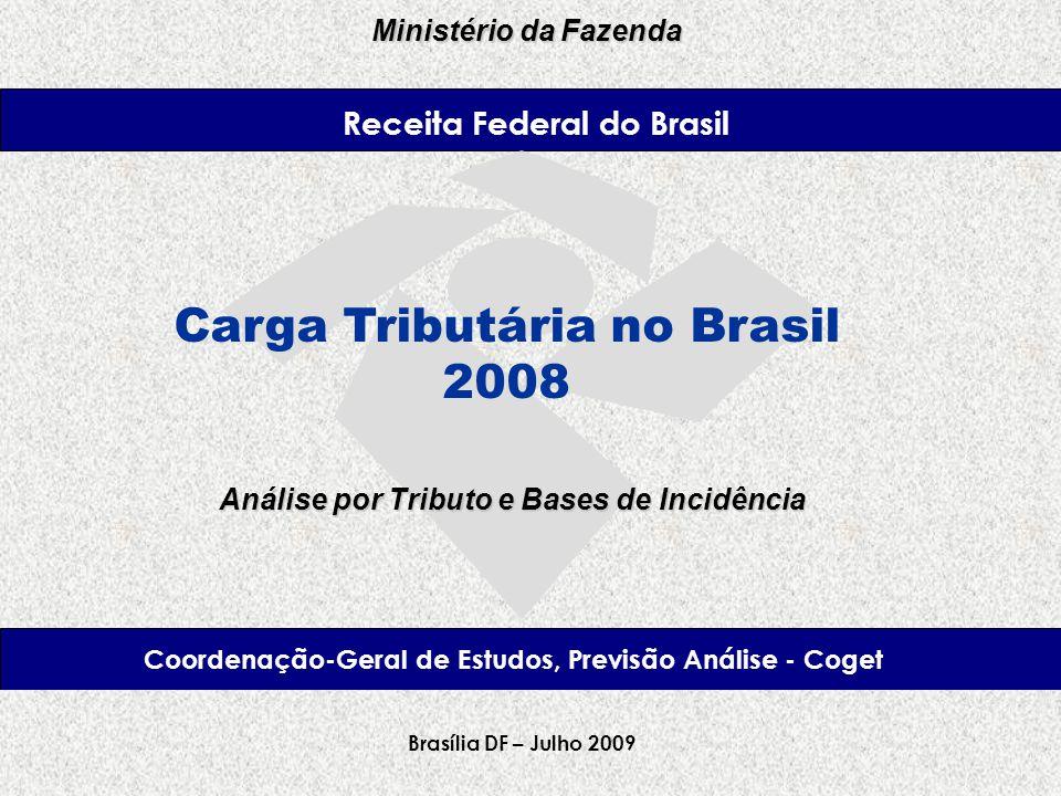 Receita Federal Ministério da Fazenda Brasília – Fevereiro, 2008 Carga Tributária no Brasil 2008 Brasília DF – Julho 2009 Análise por Tributo e Bases de Incidência Coordenação-Geral de Estudos, Previsão Análise - Coget Receita Federal do Brasil Ministério da Fazenda