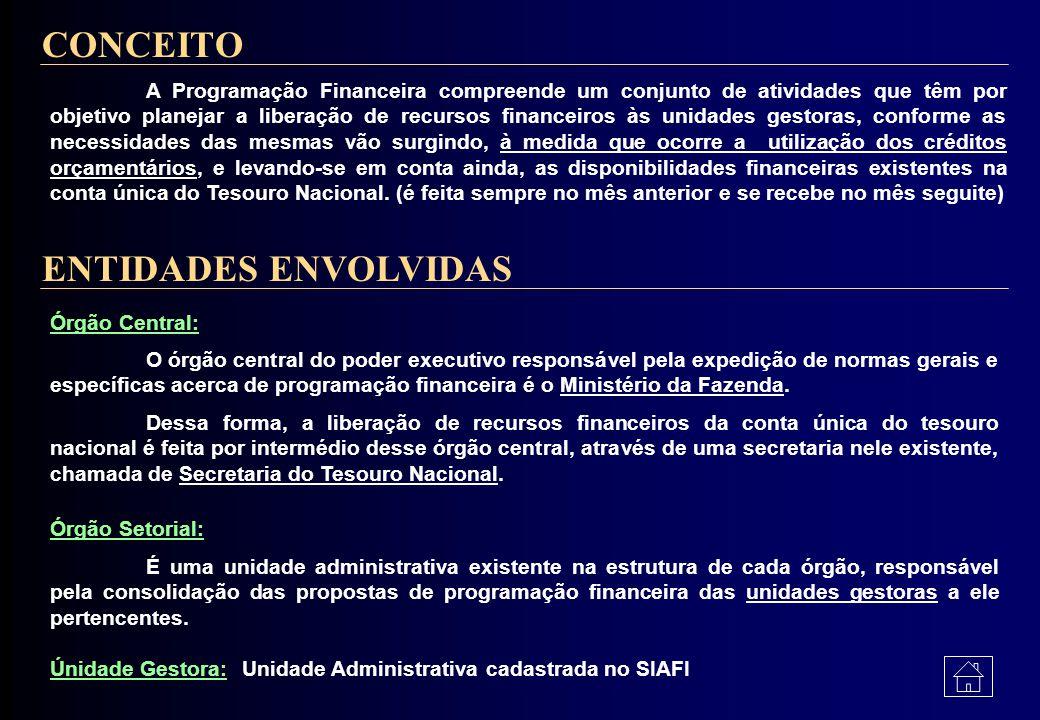 5 - Programação Financeira Conceito Entidades EnvolvidasEntidades Envolvidas * Órgão Central * Órgão Setorial * Unidade Gestora Elaboração da Programa
