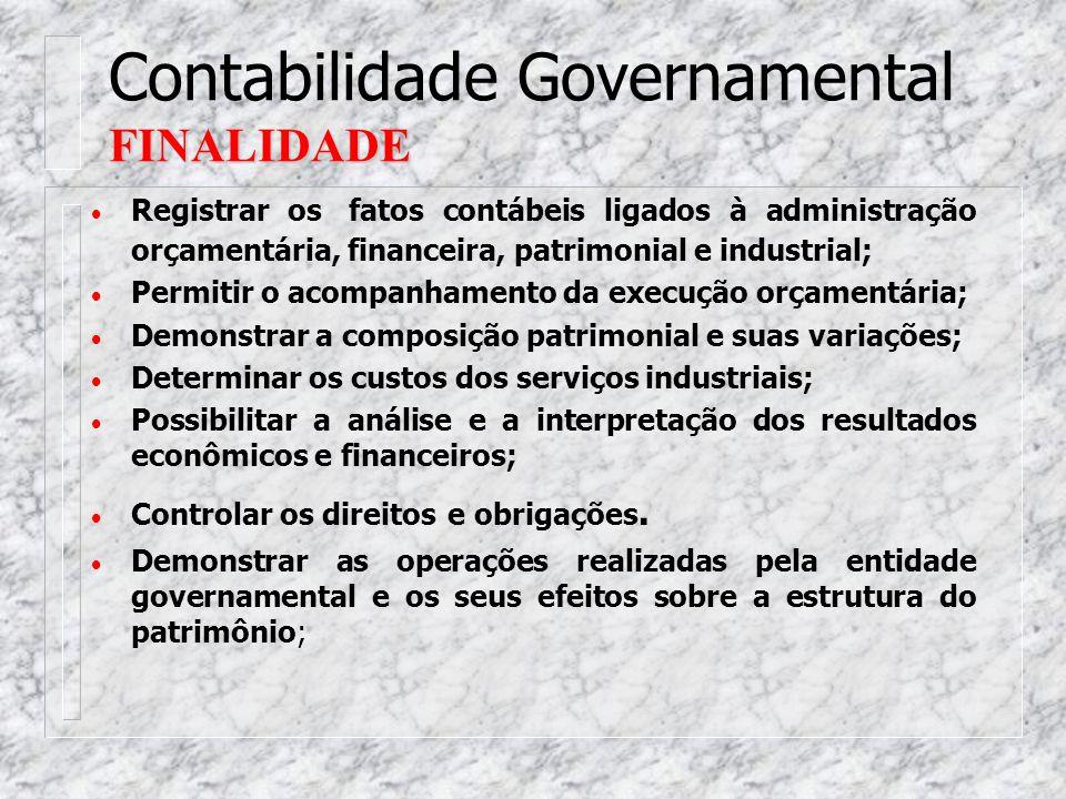CONCEITO Contabilidade Governamental CONCEITO A Contabilidade Governamental é o ramo da Ciência Contábil que está voltado para registrar, controlar e