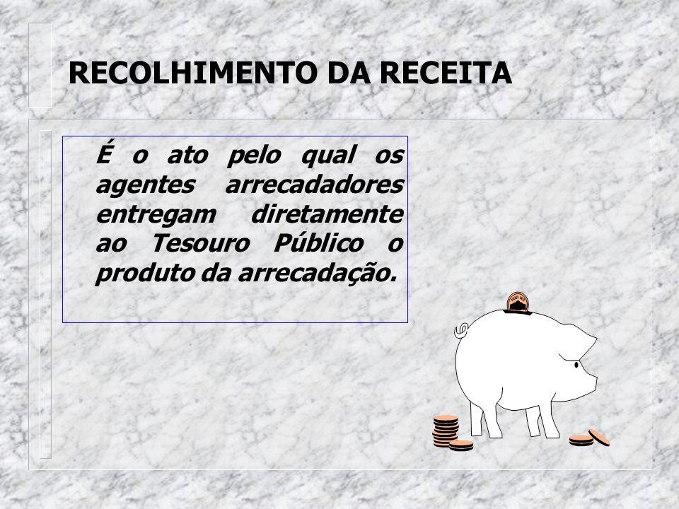 ARRECADAÇÃO DA RECEITA Representa o momento em que o contribuinte liquida suas obrigações para com o Estado junto aos agentes arrecadadores.