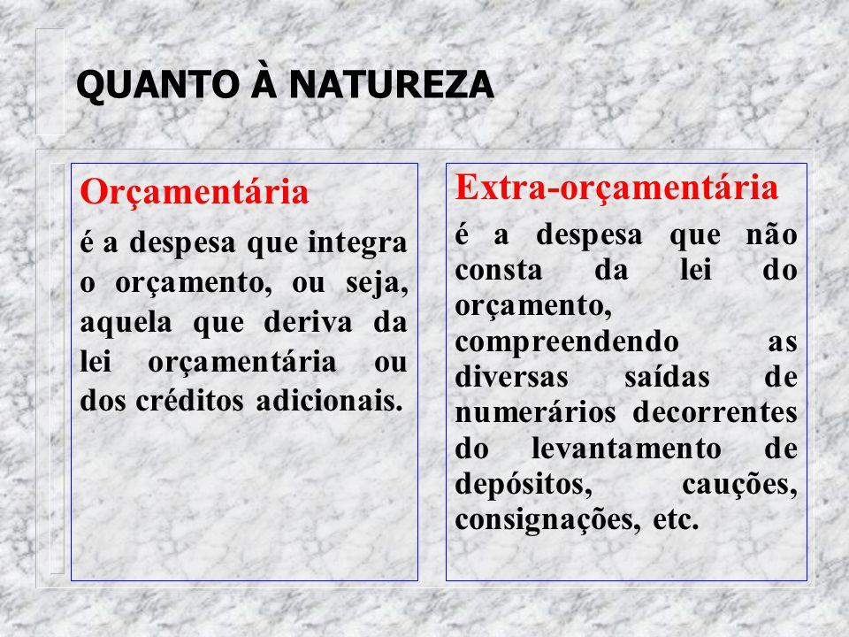 CLASSIFICAÇÃO DOUTRINÁRIA DA DESPESA PÚBLICA a) quanto à natureza; b) quanto à competência político- institucional; c) quanto à afetação patrimonial;