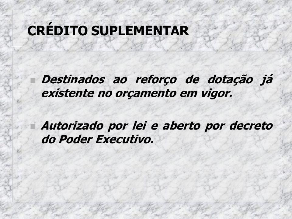 ESPÉCIE DE CRÉDITOS ADICIONAIS n Suplementares n Especiais n Extraordinários