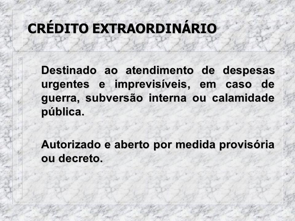 CRÉDITO ESPECIAL n Destinado a despesa para a qual não haja previsão orçamentária específica. n Autorizado por lei e aberto por decreto do Poder Execu