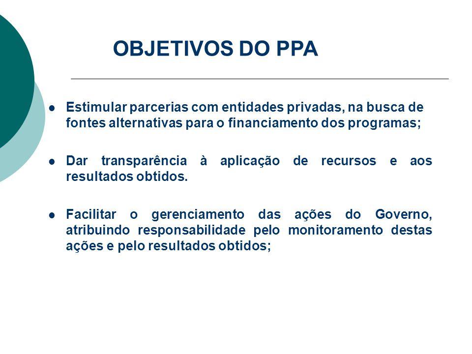 Estimular parcerias com entidades privadas, na busca de fontes alternativas para o financiamento dos programas; Dar transparência à aplicação de recur