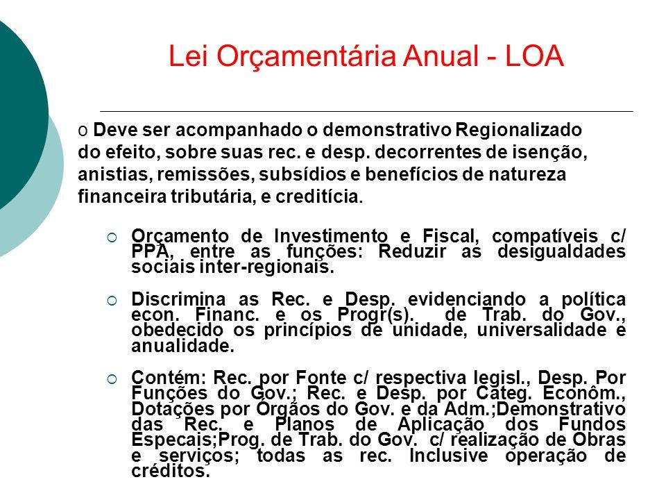 Lei Orçamentária Anual - LOA  Orçamento de Investimento e Fiscal, compatíveis c/ PPA, entre as funções: Reduzir as desigualdades sociais inter-region