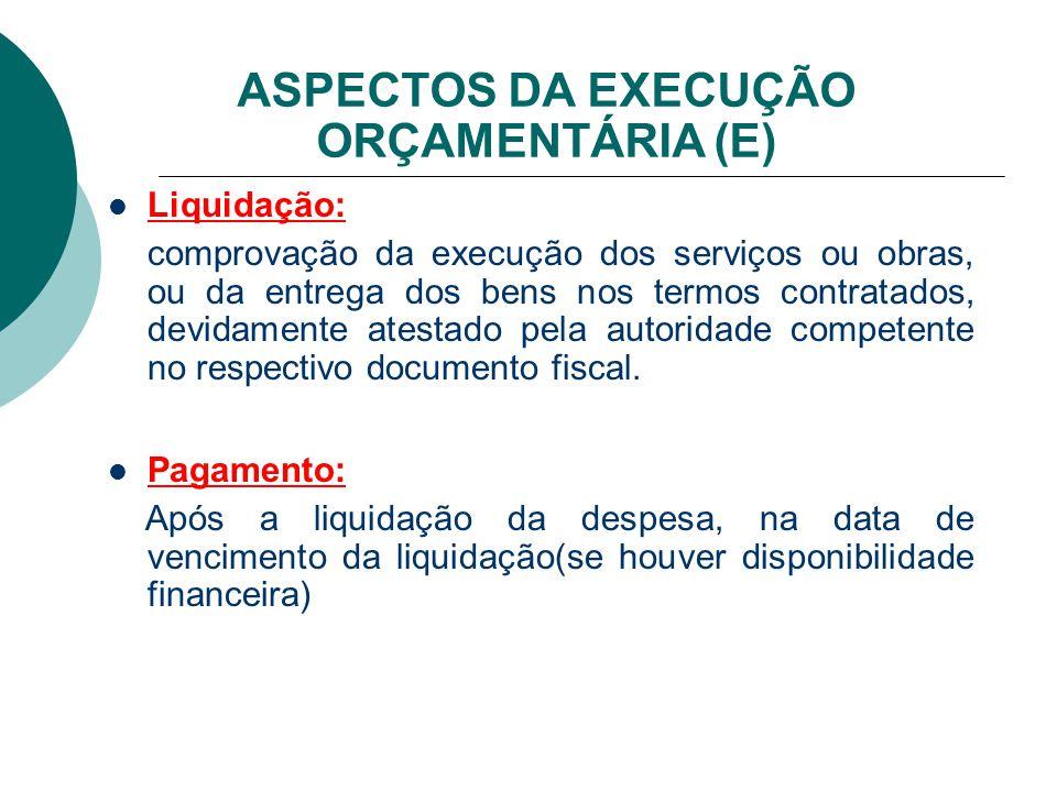 ASPECTOS DA EXECUÇÃO ORÇAMENTÁRIA (E) Liquidação: comprovação da execução dos serviços ou obras, ou da entrega dos bens nos termos contratados, devida