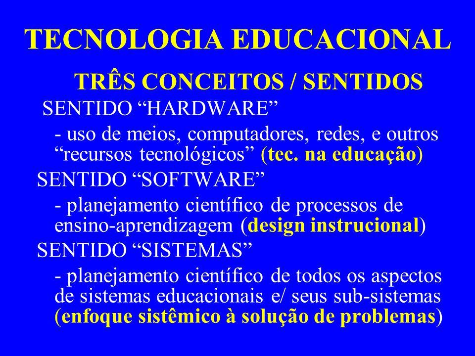 """TECNOLOGIA EDUCACIONAL TRÊS CONCEITOS / SENTIDOS SENTIDO """"HARDWARE"""" - uso de meios, computadores, redes, e outros """"recursos tecnológicos"""" (tec. na edu"""