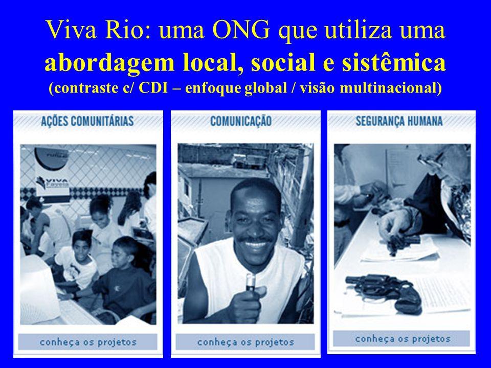 Viva Rio: uma ONG que utiliza uma abordagem local, social e sistêmica (contraste c/ CDI – enfoque global / visão multinacional)
