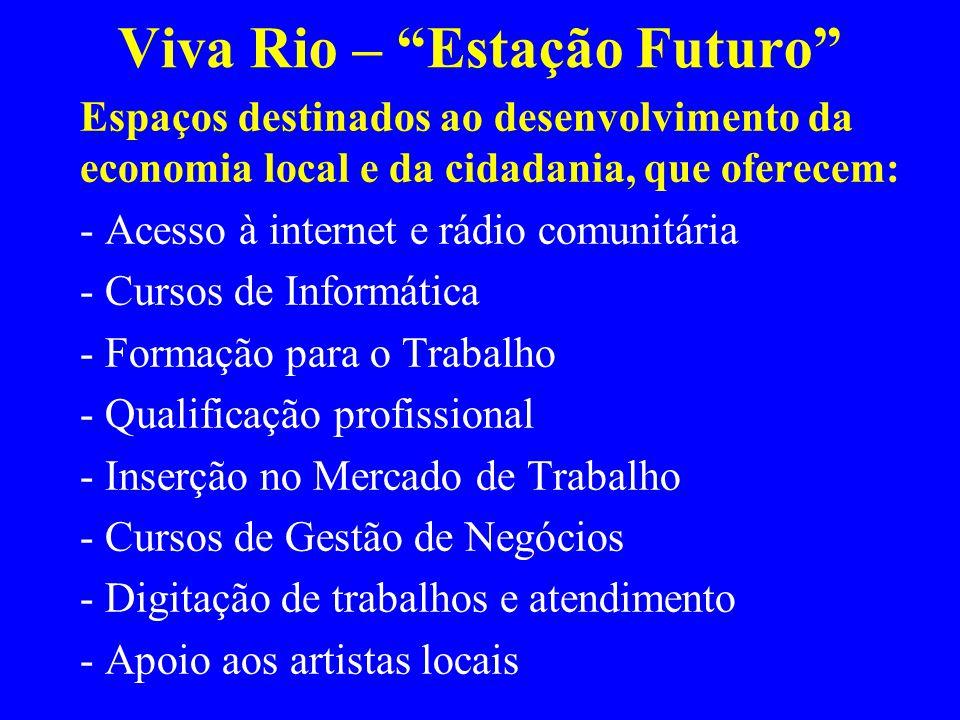 Viva Rio – Estação Futuro Espaços destinados ao desenvolvimento da economia local e da cidadania, que oferecem: - Acesso à internet e rádio comunitária - Cursos de Informática - Formação para o Trabalho - Qualificação profissional - Inserção no Mercado de Trabalho - Cursos de Gestão de Negócios - Digitação de trabalhos e atendimento - Apoio aos artistas locais