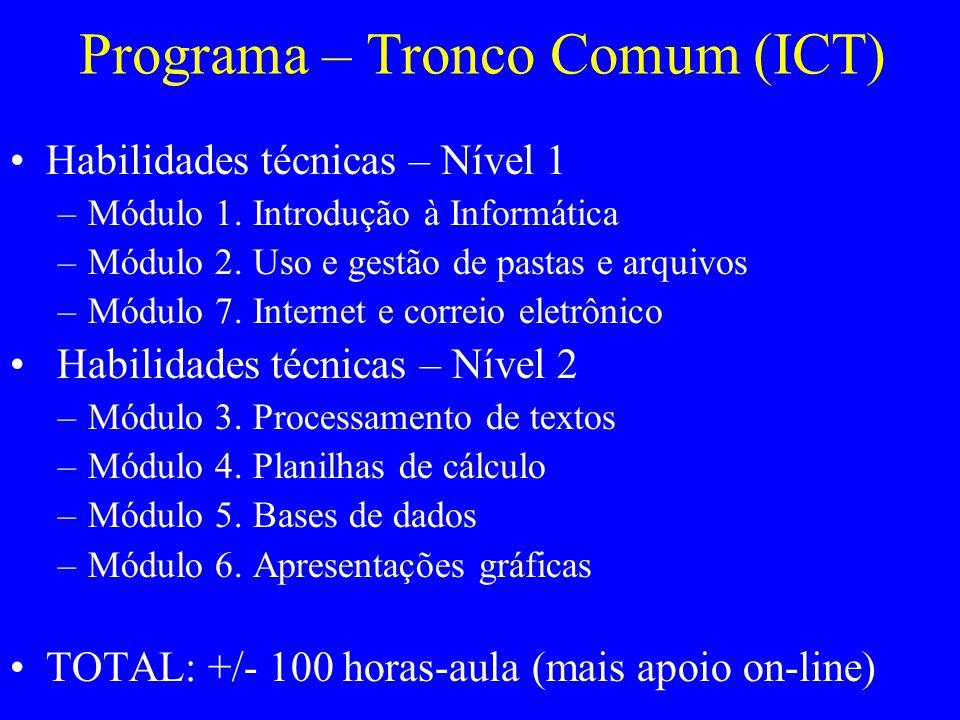 Programa – Tronco Comum (ICT) Habilidades técnicas – Nível 1 –Módulo 1. Introdução à Informática –Módulo 2. Uso e gestão de pastas e arquivos –Módulo