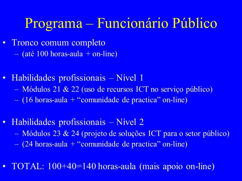 Programa – Funcionário Público Tronco comum completo –(até 100 horas-aula + on-line) Habilidades profissionais – Nível 1 –Módulos 21 & 22 (uso de recursos ICT no serviço público) –(16 horas-aula + comunidade de practica on-line) Habilidades profissionais – Nível 2 –Módulos 23 & 24 (projeto de soluções ICT para o setor público) –(24 horas-aula + comunidade de practica on-line) TOTAL: 100+40=140 horas-aula (mais apoio on-line)