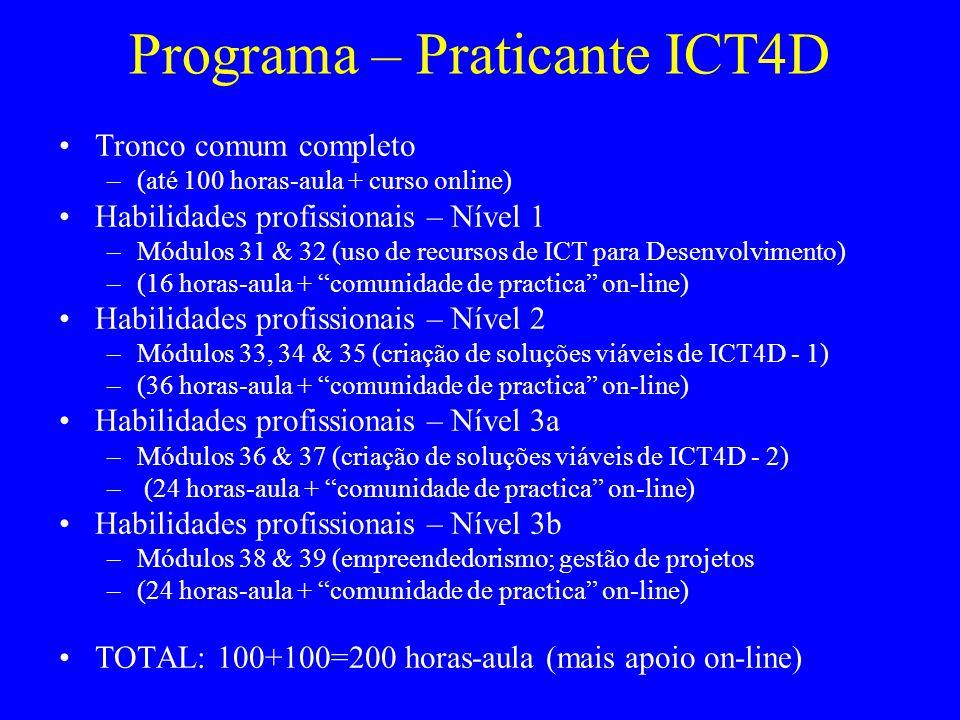 Programa – Praticante ICT4D Tronco comum completo –(até 100 horas-aula + curso online) Habilidades profissionais – Nível 1 –Módulos 31 & 32 (uso de recursos de ICT para Desenvolvimento) –(16 horas-aula + comunidade de practica on-line) Habilidades profissionais – Nível 2 –Módulos 33, 34 & 35 (criação de soluções viáveis de ICT4D - 1) –(36 horas-aula + comunidade de practica on-line) Habilidades profissionais – Nível 3a –Módulos 36 & 37 (criação de soluções viáveis de ICT4D - 2) – (24 horas-aula + comunidade de practica on-line) Habilidades profissionais – Nível 3b –Módulos 38 & 39 (empreendedorismo; gestão de projetos –(24 horas-aula + comunidade de practica on-line) TOTAL: 100+100=200 horas-aula (mais apoio on-line)