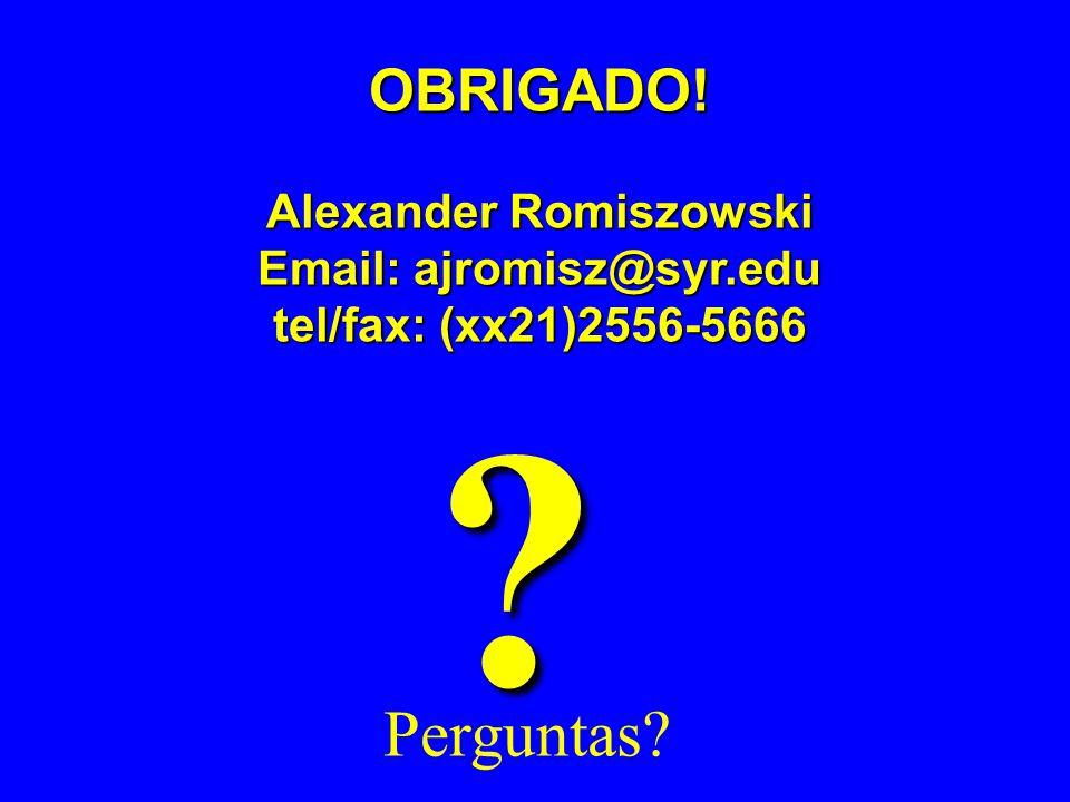 Perguntas? ? OBRIGADO! Alexander Romiszowski Email: ajromisz@syr.edu Email: ajromisz@syr.edu tel/fax: (xx21)2556-5666