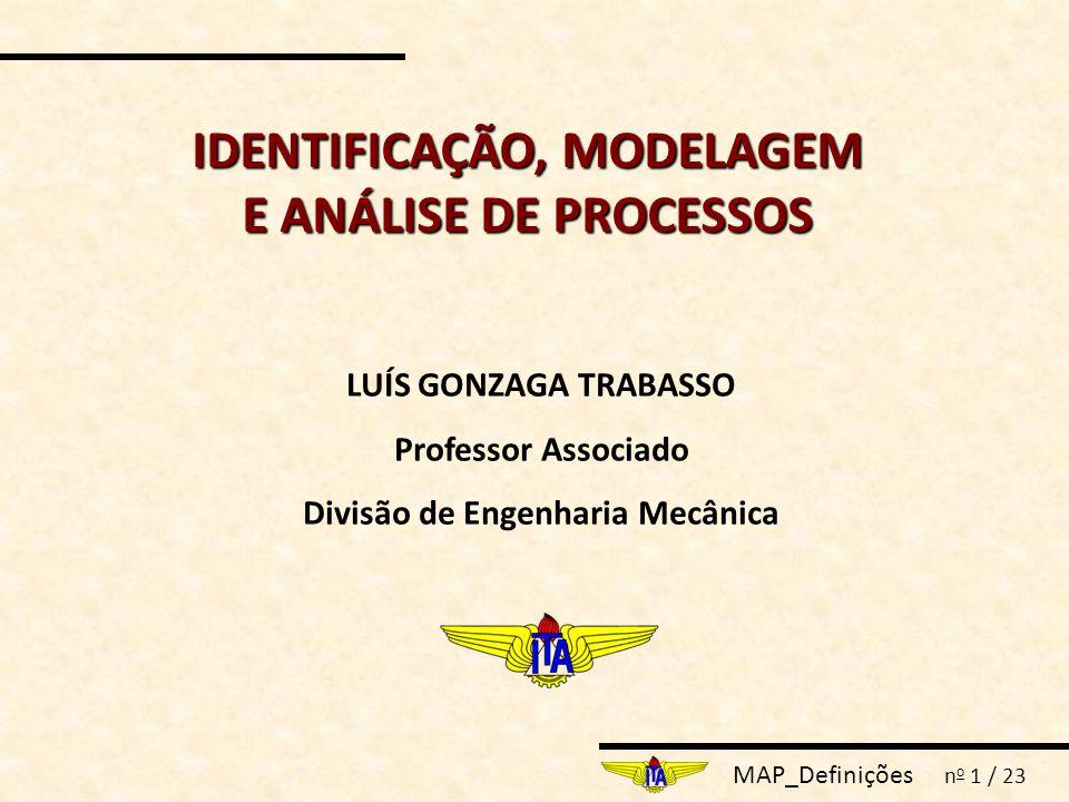 MAP_Definições n o 1 / 23 IDENTIFICAÇÃO, MODELAGEM E ANÁLISE DE PROCESSOS LUÍS GONZAGA TRABASSO Professor Associado Divisão de Engenharia Mecânica