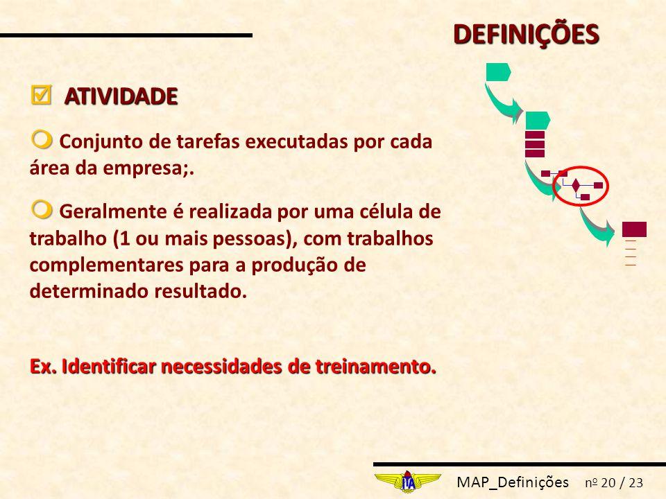 MAP_Definições n o 20 / 23  ATIVIDADE   Conjunto de tarefas executadas por cada área da empresa;.   Geralmente é realizada por uma célula de trab