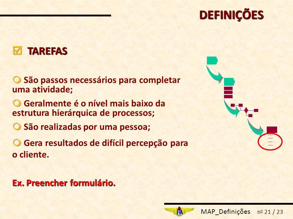 MAP_Definições n o 21 / 23  TAREFAS   São passos necessários para completar uma atividade;   Geralmente é o nível mais baixo da estrutura hierárquica de processos;   São realizadas por uma pessoa;   Gera resultados de difícil percepção para o cliente.