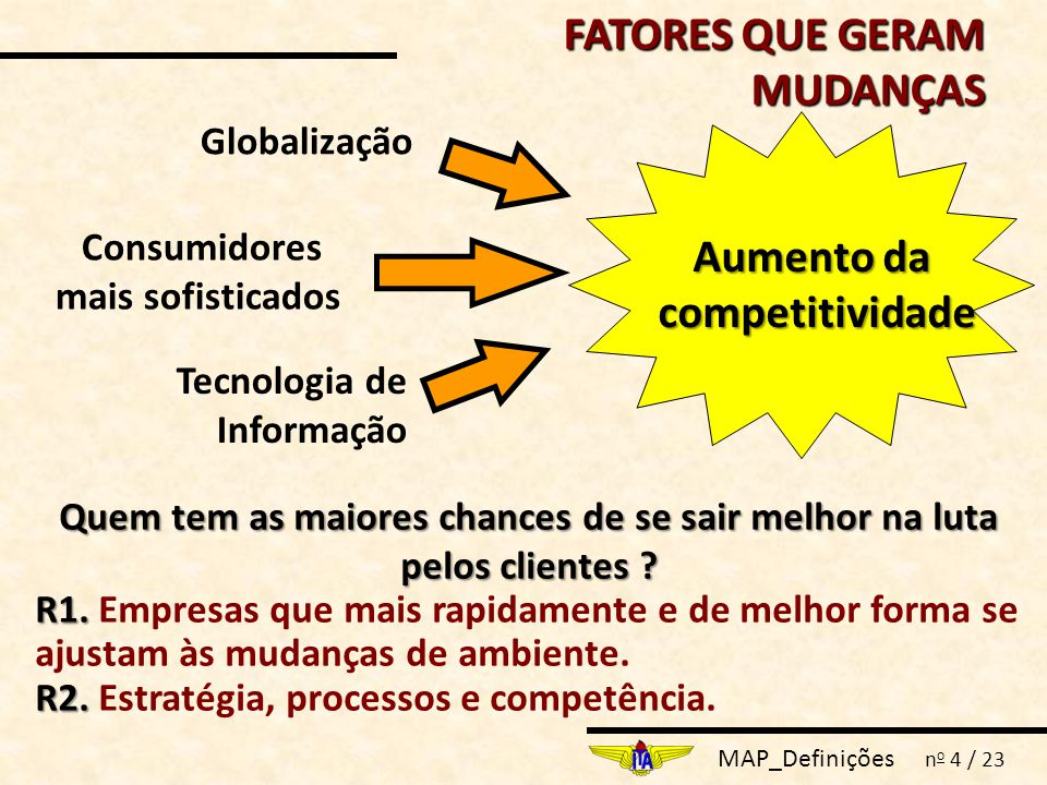 MAP_Definições n o 4 / 23 Tecnologia de Informação Globalização Aumento da competitividade Consumidores mais sofisticados FATORES QUE GERAM MUDANÇAS Quem tem as maiores chances de se sair melhor na luta pelos clientes .