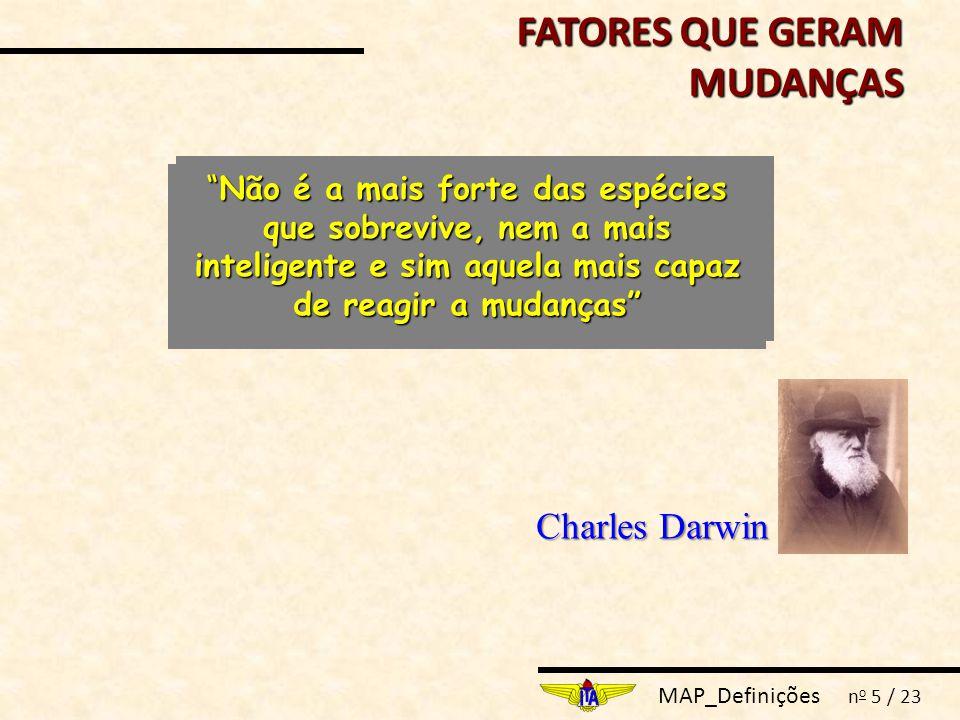 MAP_Definições n o 5 / 23 Charles Darwin Não é a mais forte das espécies que sobrevive, nem a mais inteligente e sim aquela mais capaz de reagir a mudanças FATORES QUE GERAM MUDANÇAS