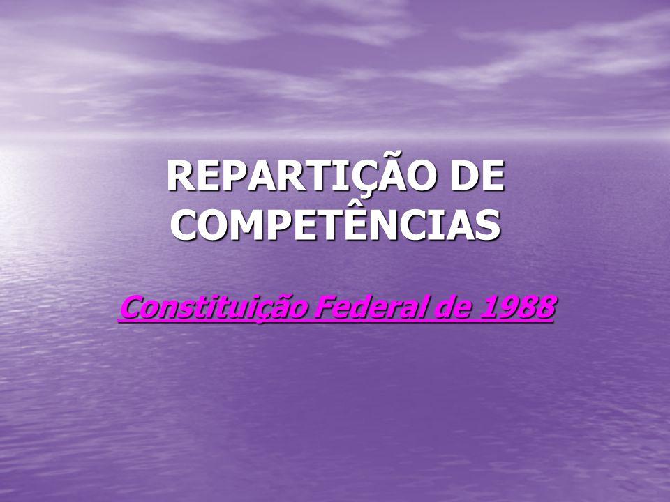 REPARTIÇÃO DE COMPETÊNCIAS Constituição Federal de 1988