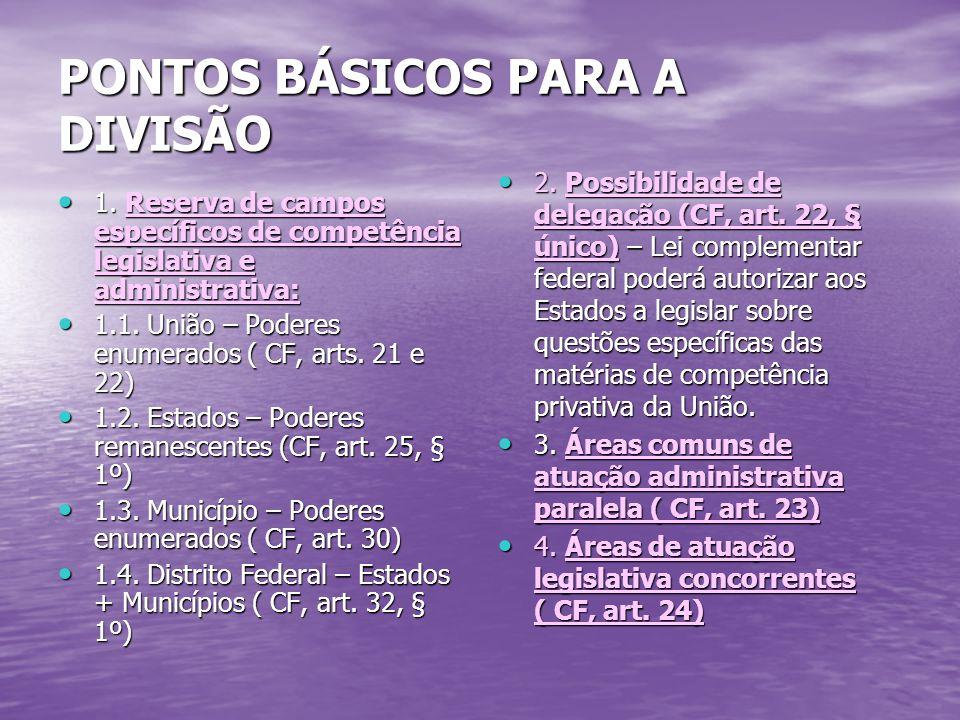 PONTOS BÁSICOS PARA A DIVISÃO 1.
