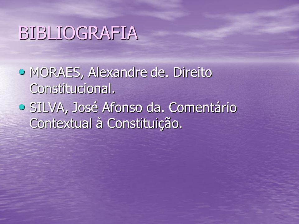 BIBLIOGRAFIA MORAES, Alexandre de.Direito Constitucional.