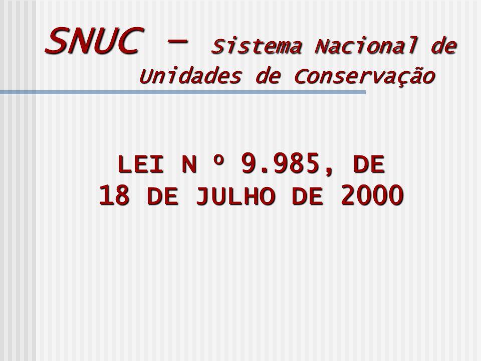 LEI N o 9.985, DE 18 DE JULHO DE 2000 SNUC – Sistema Nacional de Unidades de Conservação