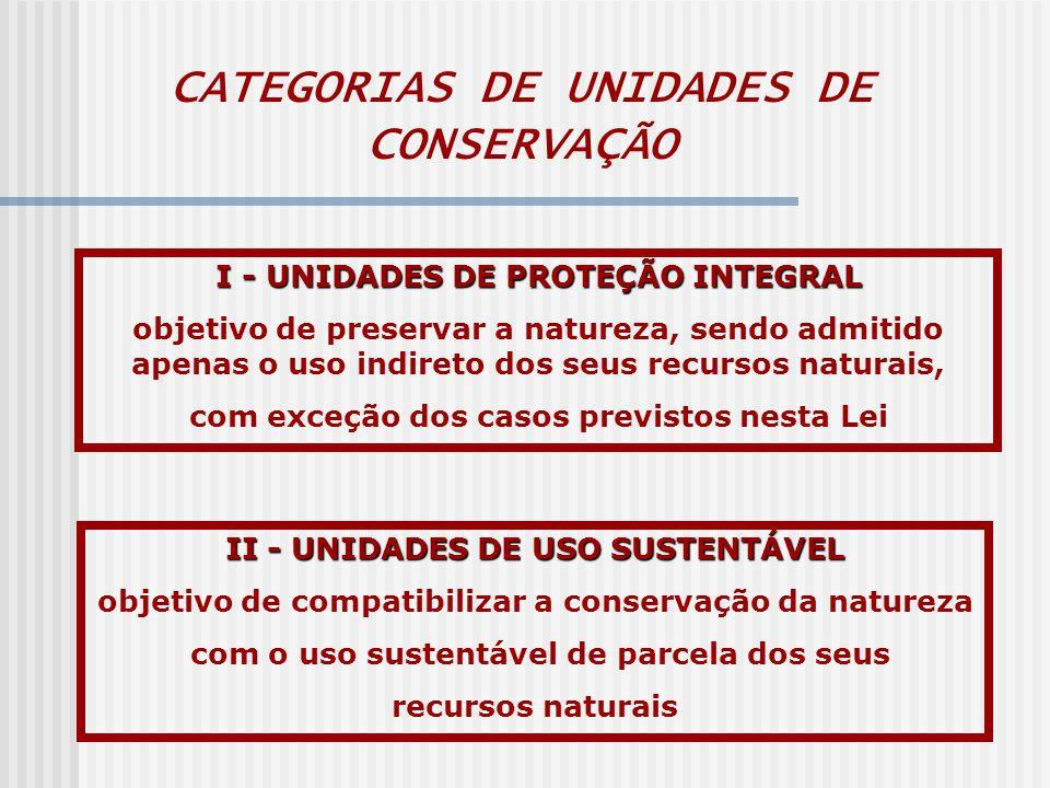 CATEGORIAS DE UNIDADES DE CONSERVAÇÃO I - UNIDADES DE PROTEÇÃO INTEGRAL objetivo de preservar a natureza, sendo admitido apenas o uso indireto dos seus recursos naturais, com exceção dos casos previstos nesta Lei II - UNIDADES DE USO SUSTENTÁVEL objetivo de compatibilizar a conservação da natureza com o uso sustentável de parcela dos seus recursos naturais