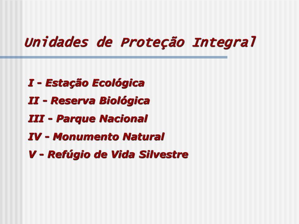 I - Estação Ecológica II - Reserva Biológica III - Parque Nacional IV - Monumento Natural V - Refúgio de Vida Silvestre Unidades de Proteção Integral