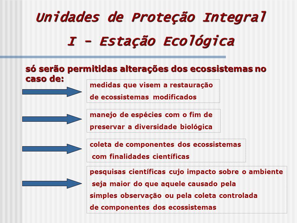 Unidades de Proteção Integral I - Estação Ecológica só serão permitidas alterações dos ecossistemas no caso de: medidas que visem a restauração de ecossistemas modificados manejo de espécies com o fim de preservar a diversidade biológica coleta de componentes dos ecossistemas com finalidades científicas pesquisas científicas cujo impacto sobre o ambiente seja maior do que aquele causado pela simples observação ou pela coleta controlada de componentes dos ecossistemas