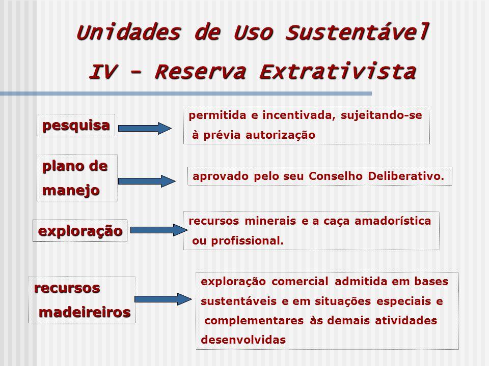Unidades de Uso Sustentável IV - Reserva Extrativista pesquisa permitida e incentivada, sujeitando-se à prévia autorização plano de manejo exploração recursos minerais e a caça amadorística ou profissional.