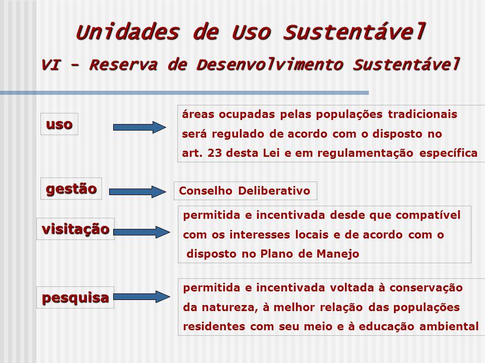 Unidades de Uso Sustentável VI - Reserva de Desenvolvimento Sustentável uso áreas ocupadas pelas populações tradicionais será regulado de acordo com o disposto no art.