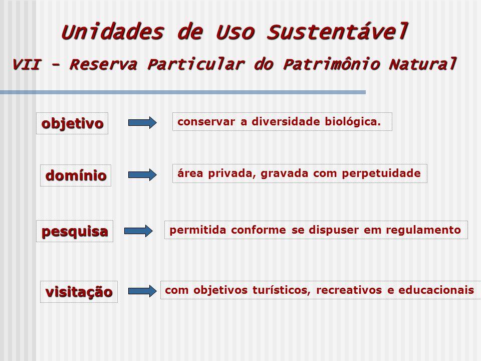 Unidades de Uso Sustentável VII - Reserva Particular do Patrimônio Natural objetivo conservar a diversidade biológica.