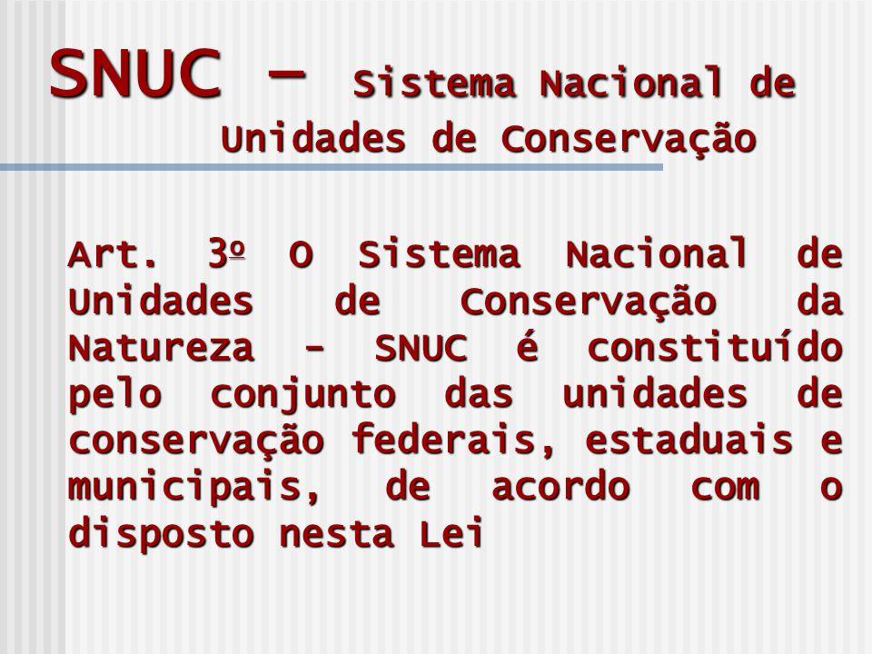 SNUC – Sistema Nacional de Unidades de Conservação Art.