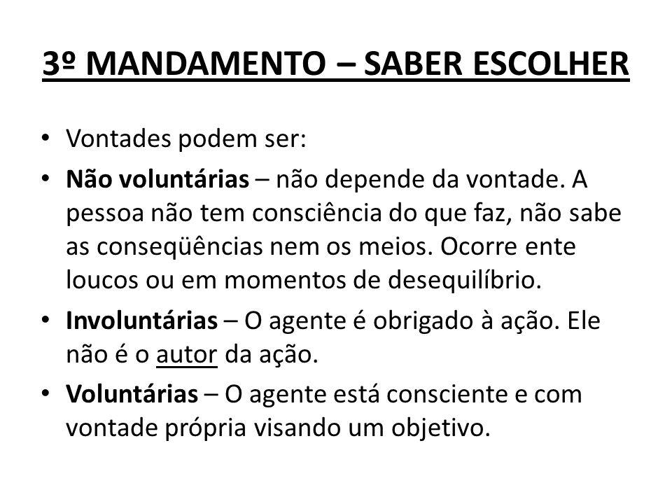 3º MANDAMENTO – SABER ESCOLHER Vontades podem ser: Não voluntárias – não depende da vontade. A pessoa não tem consciência do que faz, não sabe as cons
